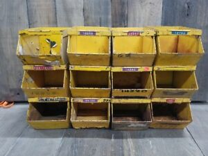 12 Small Vintage Storage Bins Usa Industrial Quality Steam Punk