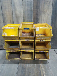 9 Small Vintage Storage Bins Usa Industrial Quality Steam Punk