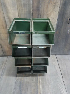 8 Small Vintage Storage Bins Usa Industrial Quality Steam Punk