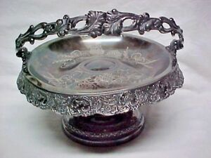 Antique Victorian Basket Footed Handle Bride Flora Homan Quadruple Silver Plate