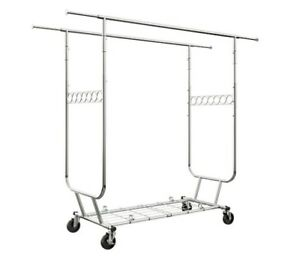 Collapsible rack Commercial clothing Large garment metal Double With Wheels New