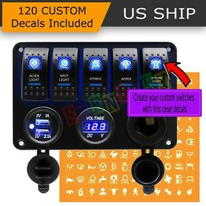 5 Gang On off Toggle Switch Panel 2usb 12v For Car Boat Marine Rv Truck Camper
