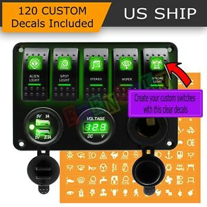Green Led 5 Gang On Off Toggle Switch Panel 2 Usb 12v Car Boat Marine Rv Truck