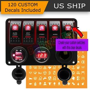 Red Led 5 Gang On Off Toggle Switch Panel 2 Usb 12v Car Boat Marine Rv Truck