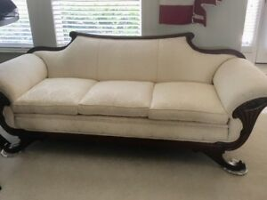 Duncan Phyfe Style Early 20th Century Ivory Formal Living Room Sofa