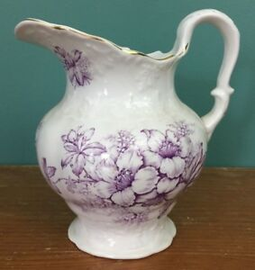 Victorian Semi Vitreous Porcelain Kt K Pitcher 8 1 2 Purple Flower Antique