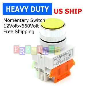 Us Stock Yellow Round Cap Momentary Push Button Switch Lay37 11bn Y090 11bn 22mm