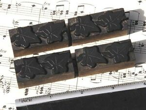 4x Ivy Wood Letterpress Ornaments Wooden Printing Blocks Type Frame Rare Fleuron