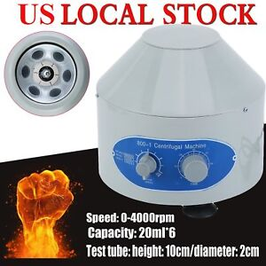Electric Centrifuge Machine Lab Laboratory Medical 800 1 4000rpm 6x20ml Rotor Ak