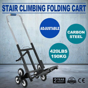 Stair Climbing Folding Cart Climb Carbon Steel 6 Wheels W Adjustable Handle