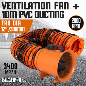 12 Extractor Fan Blower Portable 10m Duct Hose Low Noise Exhaust Underground