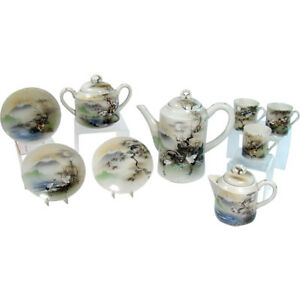 Hand Painted Japanese Porcelain Tea Set 1920 S