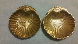 Vintage Silver Plated Shell Shaped Tray Matching Set Of 2
