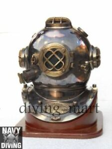 Solid Brass Copper 18 Heavy Grade Divers Helmet Vintage Diving Helm With Base
