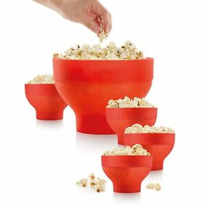 Lekue Extra large Popcorn Maker And 4 Bowls For Compact Storage Collapsible