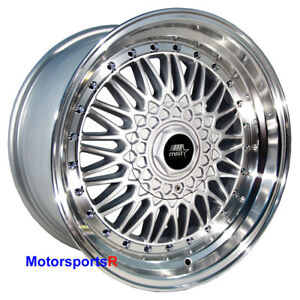 Mst Wheels Mt13 15 X 8 20 Silver Deep Step Lip Rims 4x100 01 Acura Integra Gsr