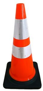 28 Inch Orange Road Safety 3m Reflective Collar Traffic Cone Parking 6 Pack
