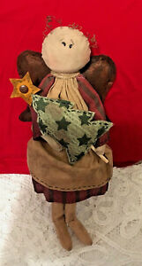 Primitive Grunge Folk Art Doll Angel Christmas Shelf Sitter
