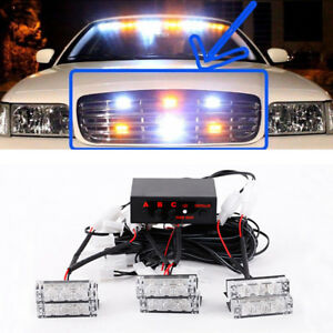 18 Led Strobe Dash Emergency Flashing Warning Lights For Car Truck White Amber