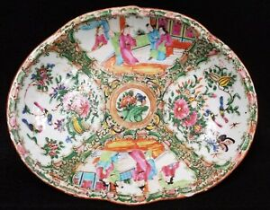 Antique Chinese Rose Medallion Oval Tray