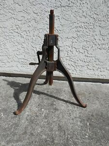 Cast Iron Work Table Legs Vintage Hand Crank Adjustable