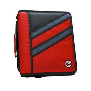 Case it Z binder Two in one 1 5 inch D ring Zipper Binders Red Z 176 red