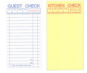 Guest Check 2 part Carbonless 10 Books 500 Checks