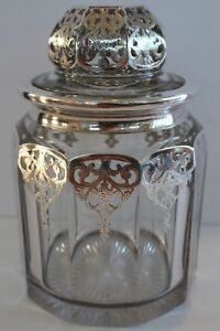 Antique Crystal Candy Jar Sterling Silver Overlay