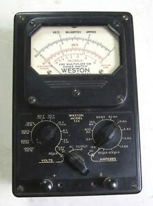 Weston Model 765 Type 1 Volt millamp amp Meter Vintage Industrial Surplus Good