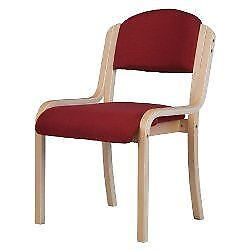 Beech effect Visitors Chair Without Arms Burgandy