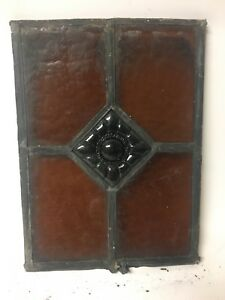 Antique Architectural Salvage Stained Glass Window Jeweled Medallion Piece Parts