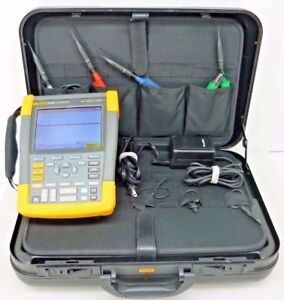 Fluke 190 204 4 channel Scopemeter 200mhz 2 5gs s W Hard Case 4x Probes