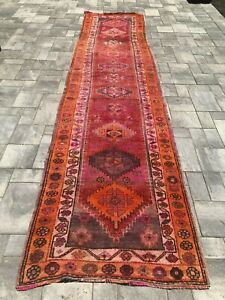 Turkish Wool Runner Vintage Hand Knotted Soft 12 9 X 3 Free Shipping