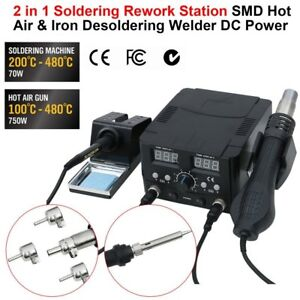 2 In1 Smd Hot Air Rework Station Soldering Iron 11 Tips 4 Nozzles 7 Tweezers Vp