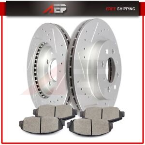 Front Drilled Slotted Brake Discs Rotors Ceramic Pads For Civic Si Lx Ex Insight