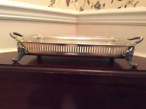Silver Footed Serving Tray With Pyrex Vintage