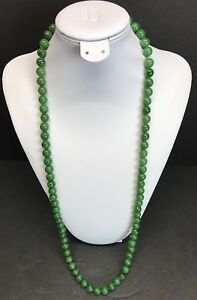 Vtg Chinese Hetian Green Jade 100 Graduated Round Bead Necklace 32 In 127 G