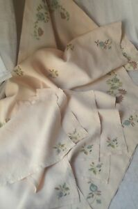 Pure Linen Embroidered Table Cloth 8 Napkins 2 Tray Cloths Unused Silk Thread
