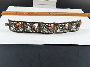 Antique Chinese Silver Filigree Bracelet With Jade And Coral Poor Condition