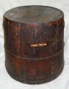 Antique Sugar Bucket Wood Sap Pail Wooden Firkin Primitive Vintage
