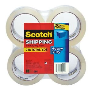 Scotch Heavy Duty Shipping Packaging Tape 1 88 In X 54 6 Yd Clear 4 Rolls p