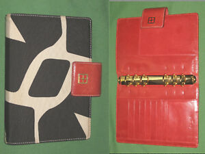 Kate Spade Personal Planner Red Leather Black White Fabric Organizer Binder