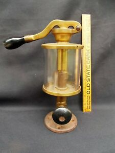 Antique Brass Hand Pump Oiler Hit Miss Steam Engine 1