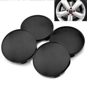 4pc 68mm Black Wheel Hubs Center Universal Wheel Rim Hub Cover Caps Easy Install