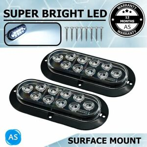 2x Oval White 6 10 Led Surface Mount Backup Reverse Led Light For Truck Trailer