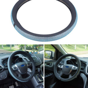 38cm Full Blue Crystal Rhinestone Car Suv Steering Wheel Cover For Ladies Girls