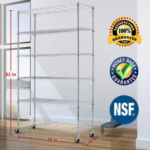 Commercial 6 Tier Wire Shelving Rack 48 x18 x82 Metal Rack With Casters Chrome