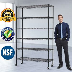 Commercial 6 Tier Wire Shelving Rack 48 x18 x82 Metal Rack W ith Casters Black