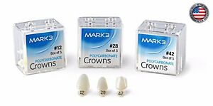 Dental Polycarbonate Temporary Crowns Mark3 5 pk 5 Crowns 60 Sizes