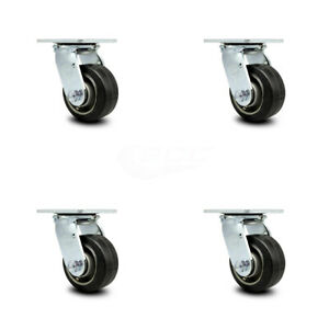 Scc 4 Rubber On Aluminum Wheel Swivel Casters Set Of 4